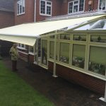 Free standing awning fully extended