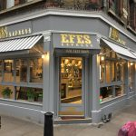 AFTER installation of fixed frame Blinds in this stylish grey stripe really adds to this gorgeous shop front