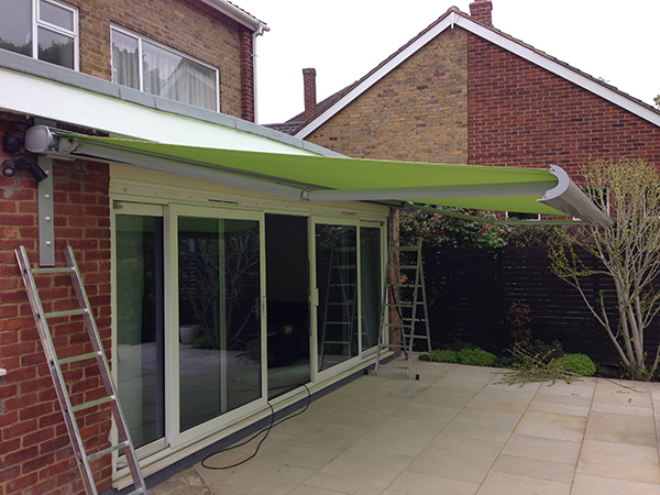 Grey and Green Patio awning ...very on trend!
